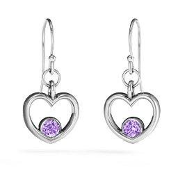 Dangling Heart Gemstone Earrings