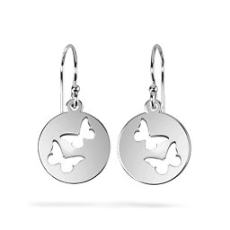 Double Butterfly Cutout Disc Earrings