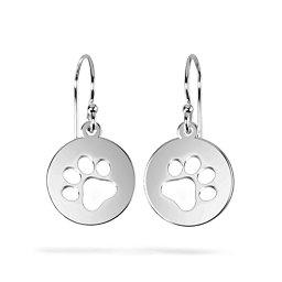 Precious Paws Pawprint Cutout Disc Earrings