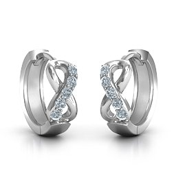 Accented Infinity Huggie Hoop Earrings