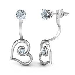 Whimsical Heart Jacket Earrings