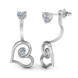 Heart jacket earrings with heart studs
