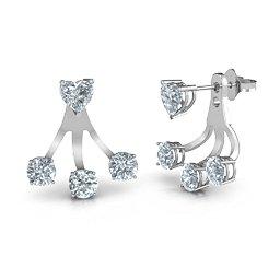 3 stones jacket earrings with heart studs