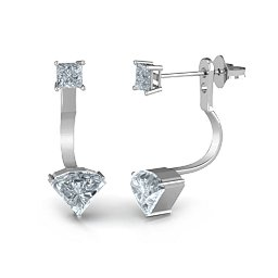 Side cut stone jacket earrings with princess cut studs