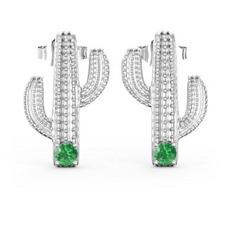 cec2caee1 Sterling Silver Cutest Cactus Earrings with Emerald (Simulated ...