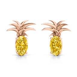 Oval Stone Pineapple Earrings