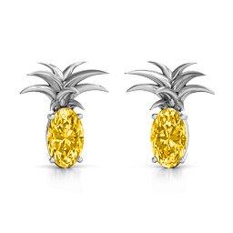 Oval Stone Pineapple Earrings