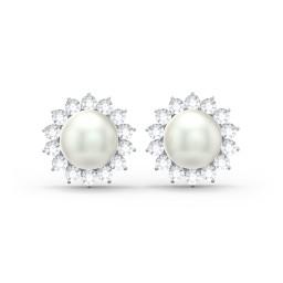 Freshwater Pearl Flower Halo Stud Earrings