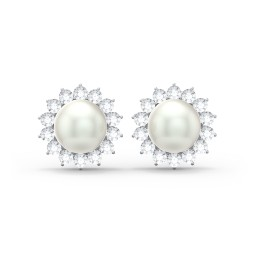 Freshwater Pearl Flower Halo Stud Earrings