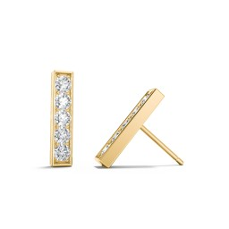 Petite Bar Stud Earrings with Accents