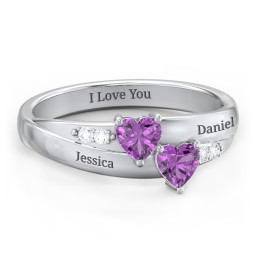 Double Heart Gemstone Ring with Accents