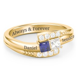 Engravable Bypass Ring with Princess Cut Gemstones and Accents