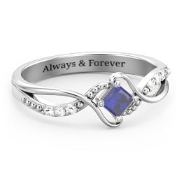 Solitaire Princess Cut Ring with Twisted Split Shank and Accents