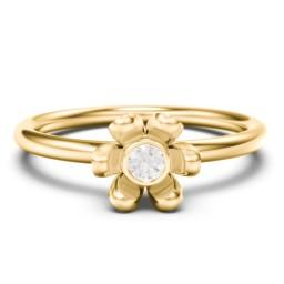 Stacking Magnolia Ring with Gemstone