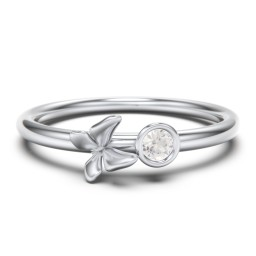 Stacking Butterfly Ring with Bezeled Gemstone