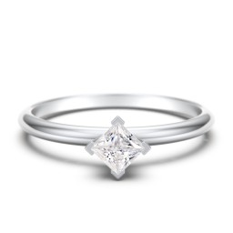 Stacking Ring with Compass Set Princess Gemstone