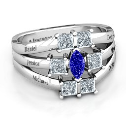 Charlotte Center Marquise and Princess Ring