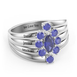 Multi Row Ring with Marquise and Round Cut Gemstones