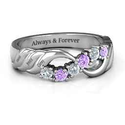 Engravable Infinity Wave Ring with Gemstones