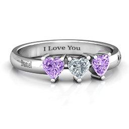 Triple Heart Stone Ring