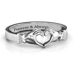 Sculpted Hand Heart Ring