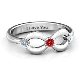 Three Stone Infinity Ring
