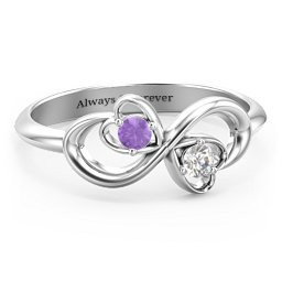 Pair of Hearts Infinity Ring with Gemstones