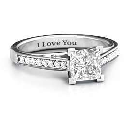 Princess Cut Ring with Channel Set Accents