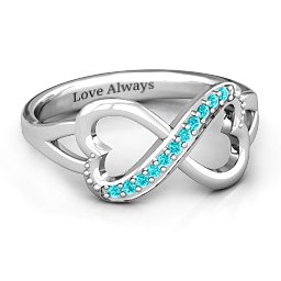 Double Heart Infinity Ring with Accents