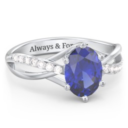 Oval Cut Gemstone Ring with Twisted Band and Accents
