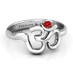 Om - Sound of Universe Ring with Round Stone