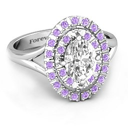 Oval Double Halo Ring