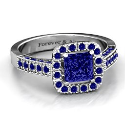 Brilliant Princess Ring with Profile Accents