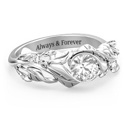 Solitaire Leaf Ring with Accent Stones