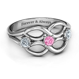Double Infinity Ring with Triple Stones