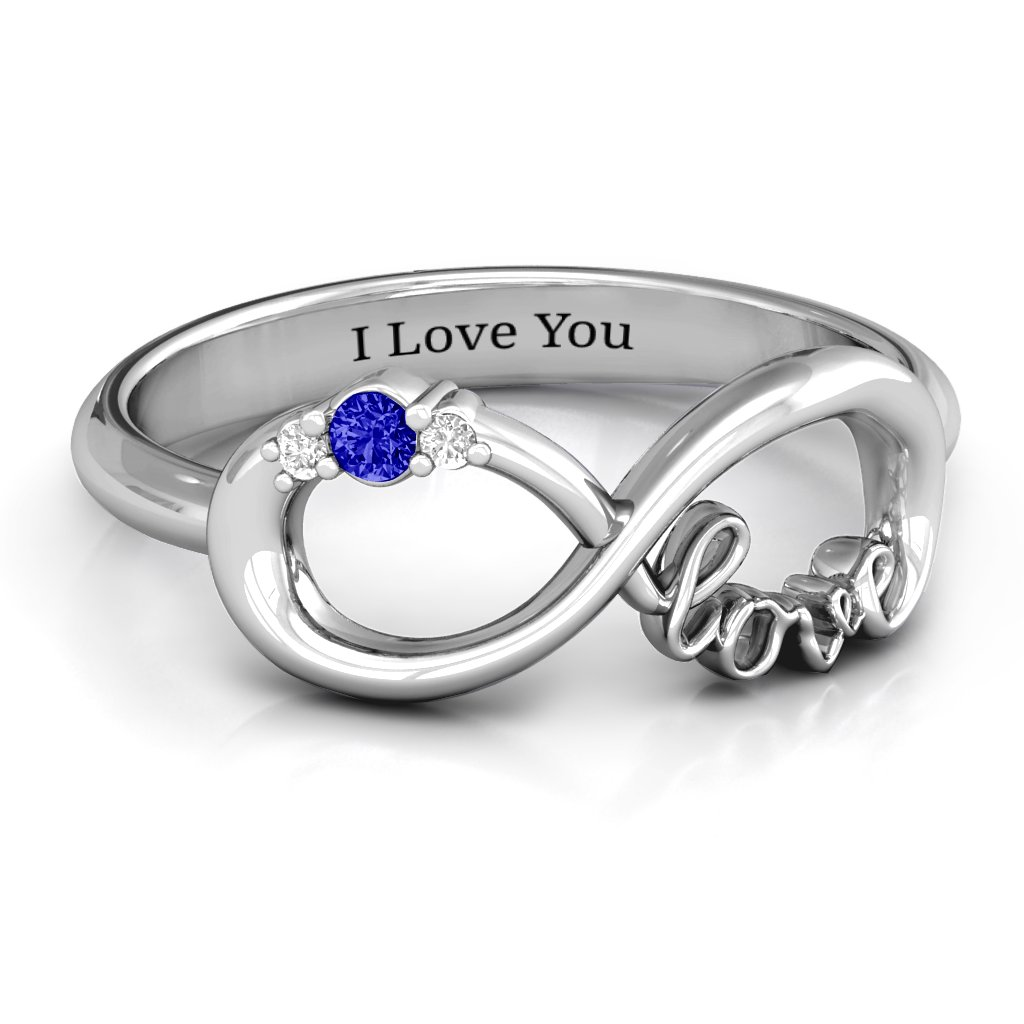 7607fad924f76f Sterling Silver BFF Friendship Infinity Ring with 2 - 7 Stones | Jewlr