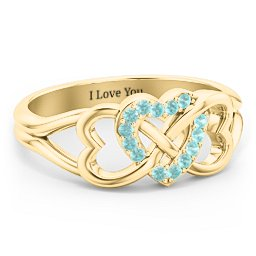 Triple Heart Infinity Ring