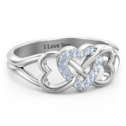 Triple Heart Infinity Ring