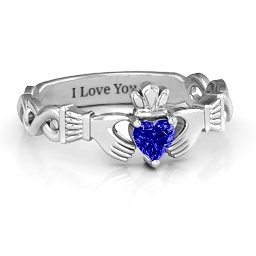 Infinity Claddagh with Heart Stone Ring