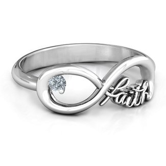 6c3b13365 Sterling Silver Faith Infinity Ring with Cubic Zirconia Stone | Jewlr