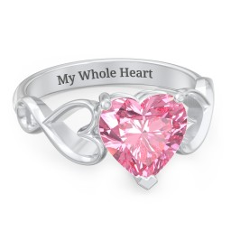 Heart Shaped Stone with Interwoven Heart Infinity Band Ring