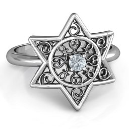 Star of David with Filigree Ring
