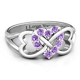 Birthstone Triple Heart Infinity Ring