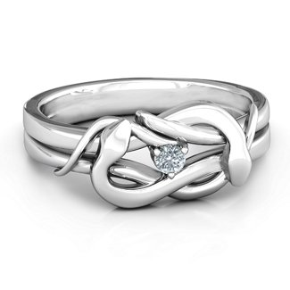 c1596231ba Sterling Silver Snake Lover's Knot Ring with Cubic Zirconia Stone ...