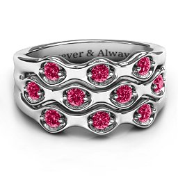 3 Tier Wave Ring