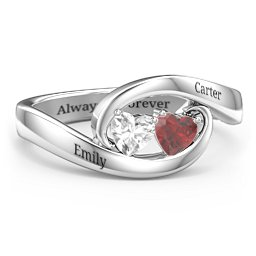 Engravable Double Heart Gemstone Wave Ring