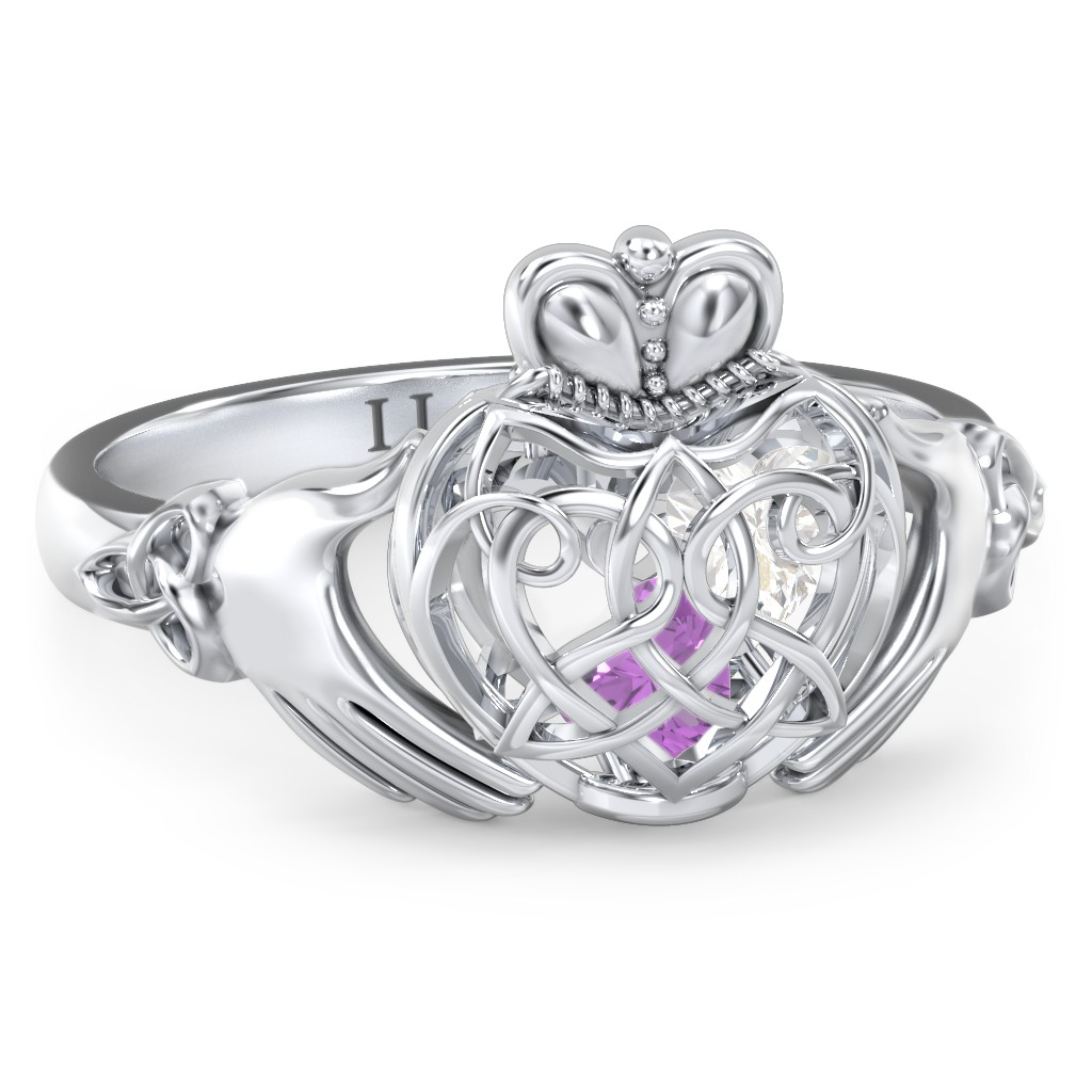 0adbdfe6c Sterling Silver Caged Hearts Celtic Claddagh Ring with 2 Cubic Zirconia  Stones | Jewlr