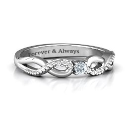 Classic Solitare Ring with Accented Infinity Band