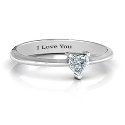 Solitaire Heart Gemstone Ring with Tapered Knife Edge Band