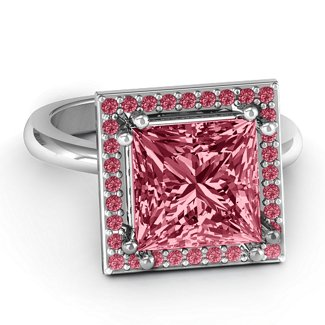 1ea627ee6ee2d Princess Cut Cocktail Ring with Halo